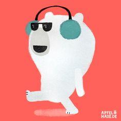 Apfelhase Illustration  Eisbär, polar bear, sun glasses, Sonnenbrille, cool, ear muffs, Ohrenschützer, illustration