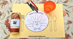 Free printable placemat for the Thanksgiving Table from ActivitiesForKids.com