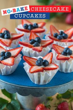 Step away from the oven! This No Bake Cheesecake Cupcake recipe is so yummy and perfect for the 4th of July! Sprinkle coconut shreds on top of the berries for even more coconut flavor or try it with fresh kiwi, mango, pineapple or papaya for a tropical take on this simple dessert.