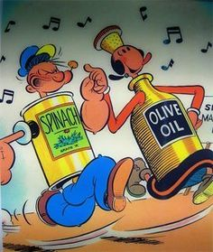 Popeye And Olive Oil (They didn't spell Oyl, correctly.) But the pic is cute. Cartoon Clip, Cartoon Shows, Cartoon Characters, Old Cartoons, Classic Cartoons, Vintage Cartoon, Vintage Comics, Popeye Olive Oyl, Popeye Cartoon