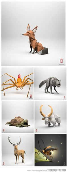I wish I did origami like this. Alas, I`m just not that gifted in this art.(Origami Animals)