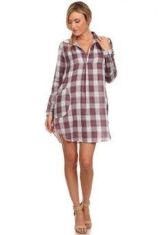 Printed Plaid Dress. Visit: www.indigobleufashion.com #plaid #dress #boho #bohemian #fashion