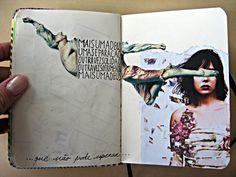 : interesting use of images and still leaving enough room for a journal entry Marjorie Fallon via Cheryl Smith Kunstjournal Inspiration, Sketchbook Inspiration, Arte Sketchbook, Sketchbook Pages, Collages, Collage Art, Artist Journal, Art Journal Pages, Art Journals
