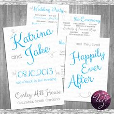 "4pg Printable Wedding Program ""Blue Whimsy"" Collection (Printable File Only)"