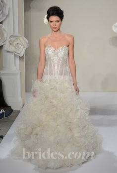 Brides.com: Pnina Tornai - 2013. Style 4214, strapless organza A-line wedding dress with a beaded sweetheart neckline, Pnina Tornai  See more Pnina Tornai wedding dresses in our gallery.