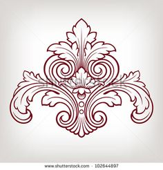 vector vintage Baroque damask  design frame pattern element engraving retro style