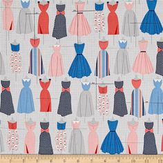 Kaufman Sew Dressed Up Dresses Navy from @fabricdotcom  Designed by Niamh Fitzsimons for Robert Kaufman, this cotton print fabric features gorgeous creations from your sewing machine! Perfect for quilting, apparel and home decor accents. Colors include white, black, shades of blue and grey, pink, coral, red and light pink.