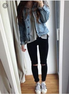 IM LOOKING FOR A CUTE OUTFIT TO WEAR TO SCHOOL OR THE MALL. I REALLY WANT A NICE JEAN JACKET THAT I CAN WEAR WITH BLACK PANTS. on The Hunt