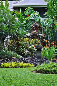 Tropische Landschaftsgestaltung, Bromilie, Plumeria, Outdoor Living: Tropical Tabu Source by loveand Tropical Backyard Landscaping, Tropical Garden Design, Garden Landscape Design, Tropical Plants, Landscaping Ideas, Tropical Gardens, Backyard Ideas, Landscape Designs, Bali Garden