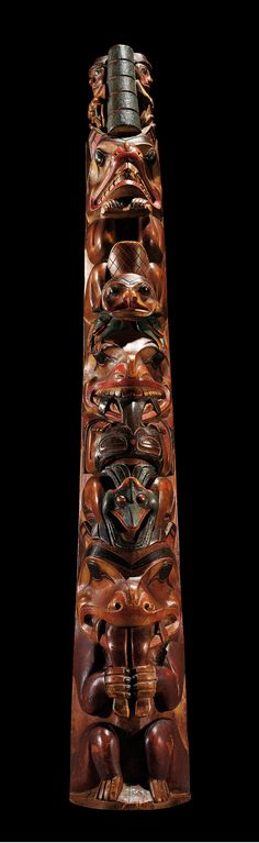 A Haida model totem pole, Northwest Coast