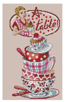 Kreuzstich Embroidery Art, Cross Stitch Embroidery, Cross Stitch Patterns, Cross Stitch Kitchen, Le Point, Cross Stitching, Blackwork, Needlepoint, Fun Crafts