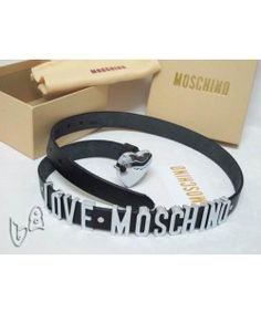 Moschino LOVE MOSCHINO Silver Small Leather Belts Black