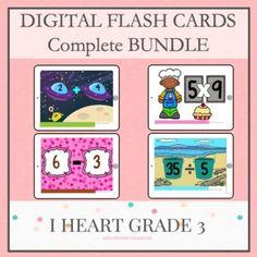 Distance Learning Flash Cards for Math Complete Bundle Learning Multiplication, Multiplication Strategies, Teaching Math, Math Fractions, Creative Teaching, Division Flash Cards, Math Flash Cards, Third Grade Math, Grade 3