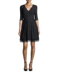Carolina Herrera Half-Sleeve V-Neck Lace Cocktail Dress, Black | Neiman Marcus