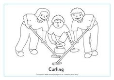 Curling Colouring Page, snowboard, speed skate, figure skate