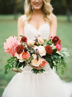 Showstopping fall bouquet: Photography : Apryl Ann Photography Read More on SMP: http://www.stylemepretty.com/2016/04/15/outdoor-wedding-with-show-stopping-florals/