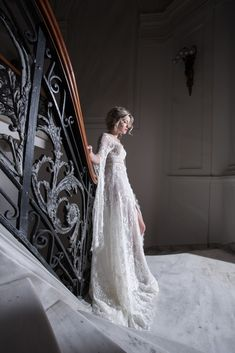 Ethereal wedding gown with butterfly sleeves and French lace made by Costantino. Bohemian Style Wedding Dresses, Bridal Style, Wedding Gowns, Bridal Heels, Bridal Lace, Ethereal Wedding, Haute Couture Dresses, White Heels, French Lace