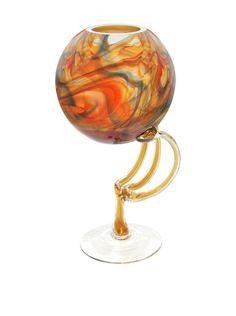 Jozefina Art Glass Galaxy Vase, Amber/Red/Blue