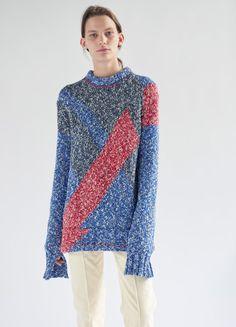 Crew Neck Sweater in Cotton Mouliné - Céline