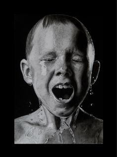 hyper realism black white little boy drenched in water expressive face