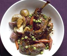 Spiced Rabbit Tagine with Peas and Carrots. (Perhaps I can cook this in a Dutch Oven?)