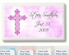 Pink Cross on Canvas Background Personalized Mint Favors