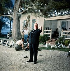 Alfred Hitchcock on the set of The Birds (1963)