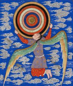 magictransistor: The Angel Ruh Holding the Celestial Spheres. Aja'ib al-Makhluqat (Wonders of Creation). 1550s.