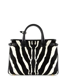 Burberry zebra-print dyed calf hair (New Zealand) tote bag. Grained calfskin…