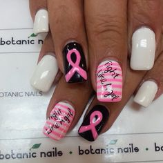 Breast cancer awareness nails.