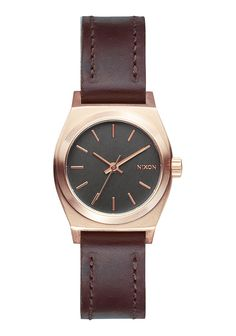 Small Time Teller Leather, Rose Gold / Gunmetal / Brown