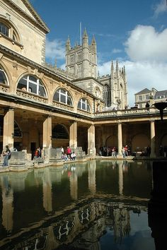 Roman Baths - Bath, UK - When I was there we weren't supposed to touch the water, but hello, I wasn't going to miss a chance so I definitely still touched it!