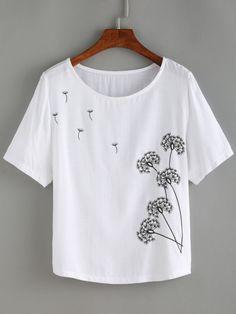 Dandelion Print Linen T-shirt