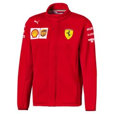 PUMA Jacket Softshell Ferrari Team for men Red Size S Clothing Logo Ferrari, Hooded Sweater Dress, Motorcycle Jacket, Bomber Jacket, Ferrari Scuderia, Soft Shell, Range Of Motion, Cotton Jacket, Race Day