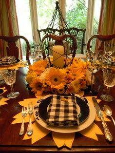 Beautiful fall color table setting... really like this!