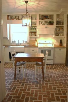 Trendy farmhouse kitchen backsplash brick Ideas - Image 2 of 22 Brick Tile Floor, Brick Floor Kitchen, Diy Kitchen Flooring, Farmhouse Flooring, Brick Flooring, Diy Flooring, Farmhouse Kitchen Decor, Kitchen Tiles, New Kitchen