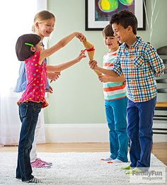 Cone-to-Cone Relay Game: After your guests have had their fill of ice cream, put their serving skills to the test with this relay race.