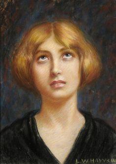 ■ HAWKINS, Louis Welden (French, 1849–1910) - Blonde Frau nach oben blickend. Pastel mounted on thick cardboard paper, leaf big 51,2 x 37,8 ■ Луис Велден ХОУКИНС - Свеловолосая женщина, смотрящая вверх