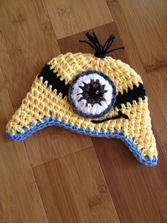 Newborn infant baby boy crochet blue Minion hat photography photo prop Made to Order