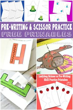 Pre-Writing and scissor practice free printables