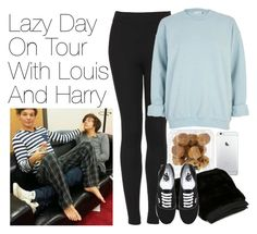 """""""Lazy Day on Tour with Louis and Harry"""" by onedirectionimagineoutfits99 ❤ liked on Polyvore featuring Topshop, Liska, River Island and Vans"""