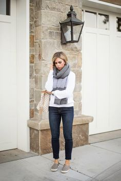 winter white sweater and over sized scarf