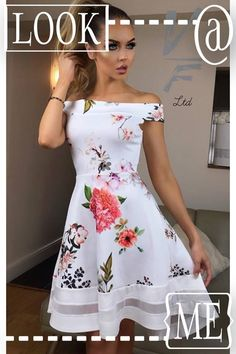 Stunning bardot floral dress Available in 'Red Rose' and 'Ivory floral' Asymmetric high low (dipped hem) with delicate mesh insert Polyester Elastane Made in the U.K Model wears a U. Bardot Dress, Plus Size Fashion For Women, High Low, Summer Dresses, Floral, Womens Fashion, Pretty, Model, How To Wear