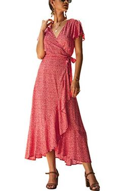 Cotton Wrap closure Material - This fashion dress is made of cotton. You will feel comfortable to skin, soft and breathable. Cute Maxi Dress, Floral Maxi Dress, Ethnic Fashion, Boho, Fashion Dresses, Women's Dresses, Short Sleeve Dresses, Summer Dresses, Ethnic Style