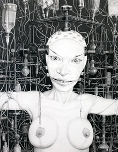 """Enhanced 2011"", charcoal & pencil on paper, Laurie Lipton"