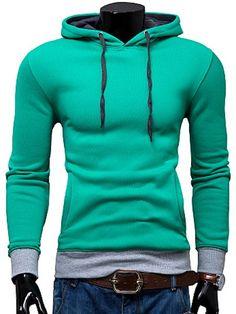Casual Drawstring Hooded Color Block Front Pocket Slimming Long Sleeves Hoodie For Men