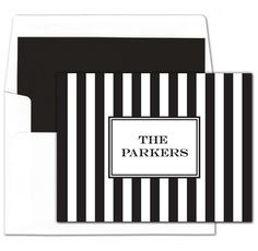 Black Awning Stripe Foldover Note Cards