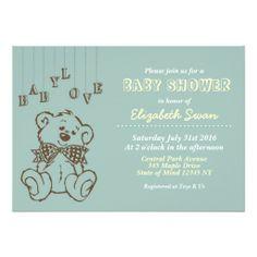 Cute Teddy Bear Baby Shower Blue Invitation