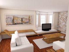 Mueble de TV en madera de cerezo y laca blanca