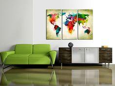 Drucke auf Leinwand - Leinwand bilder 120x80 Weltkarte k-A-0006-b-g - ein Designerstück von design4art bei DaWanda #weltkarte #leinwand #bilder